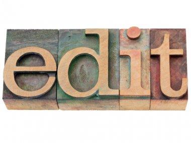 Edit - word in letterpress type