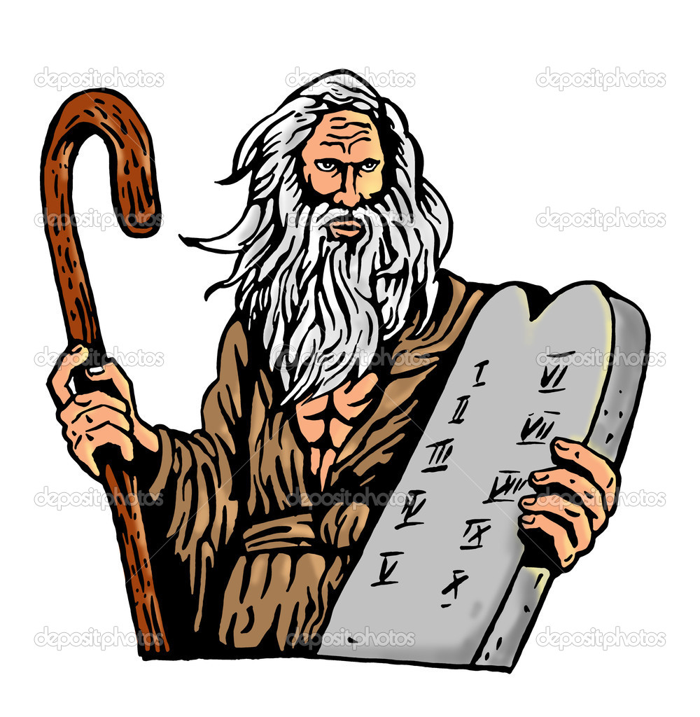 Moisés con los diez mandamientos en una tableta — Fotos de Stock ...
