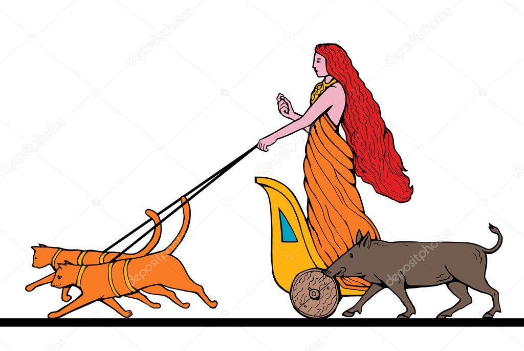 Freya Norse Goddess Riding Chariot Cat Boar Stock Photo