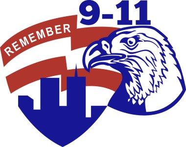 9-11 Eagle Head World Trade Center American Flag