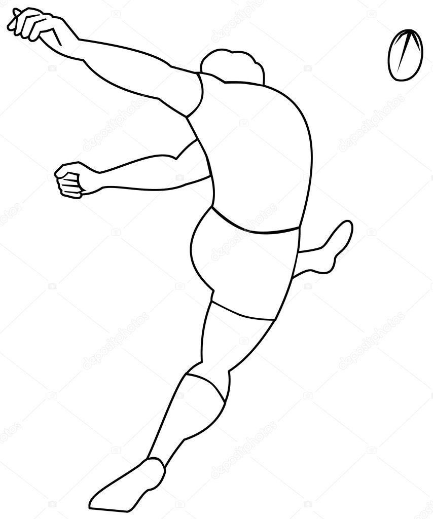 Botter le ballon de rugby vu de l 39 arri re photographie patrimonio 6647209 - Dessin de joueur de rugby ...