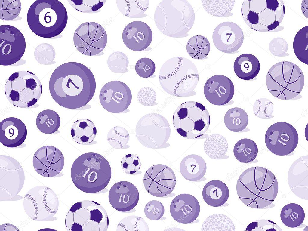 Vector Deportes Bolas Patrón De Fondo: Deporte Pelotas De Patrones Sin Fisuras