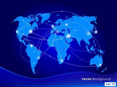 Vector illustration world map. Concept communication.
