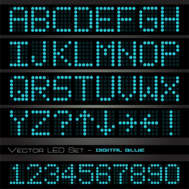 Blue digital letters and numbers