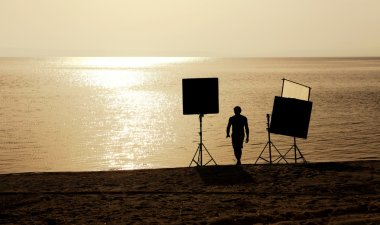 Film crew on a bech