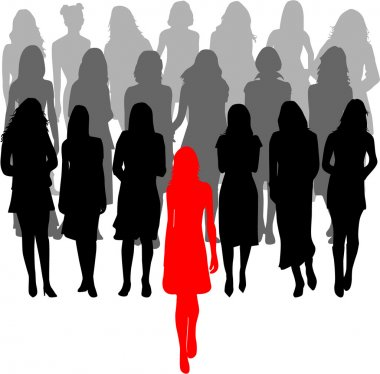 Leader - a large group of women - vector graphics