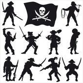 Piráti posádky siluety sada 2