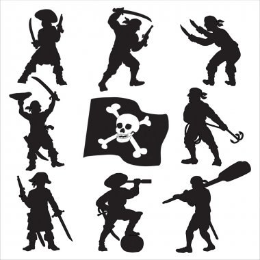 Pirates crew silhouettes SET 1