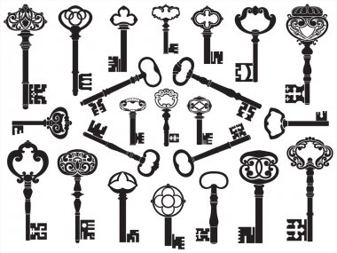 Large collection of antique keys. stock vector
