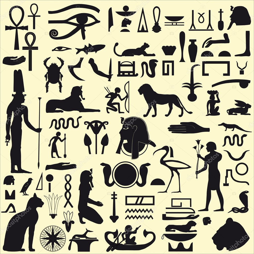 Egyptian symbols and signs set 1 stock vector artyup 5871954 ancient egyptian symbols and signsllection of different silhouettes vector by artyup buycottarizona Images