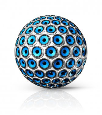 Blue speakers sphere