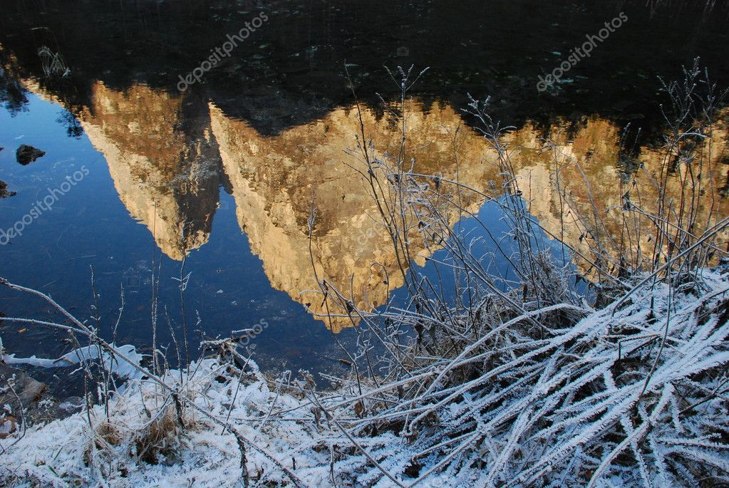 Mountains reflected in a pond