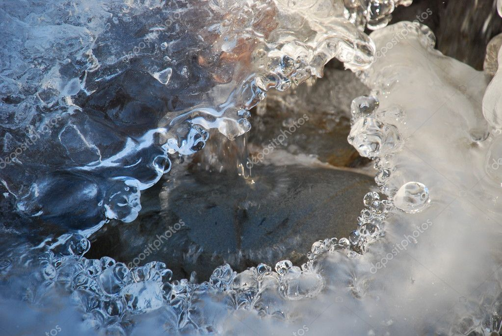 Close-up of a frozen stream