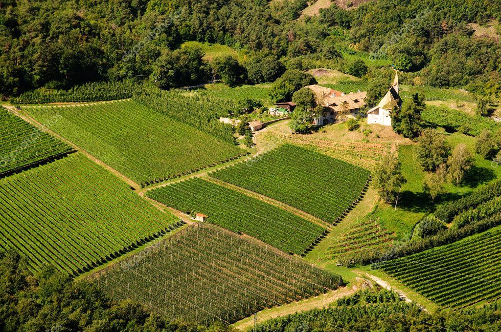 Trentino Alto Adige landscape. Panoramic view of a farm