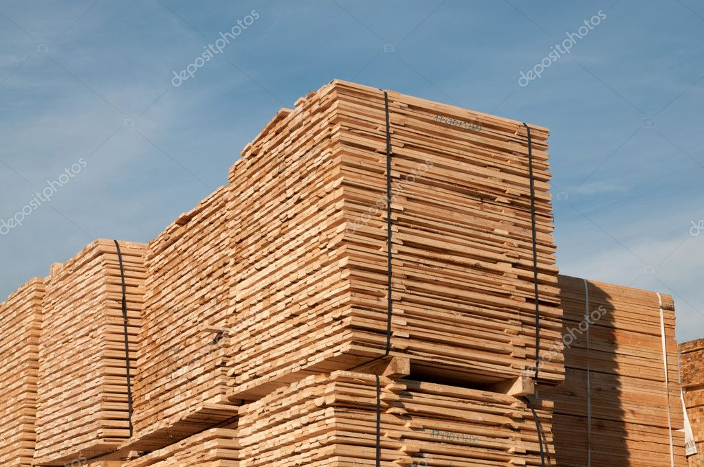 Pile of wooden planks (boards)