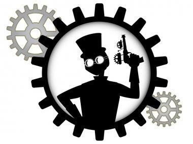 Silhouette of steampunk man holds gun inside gear