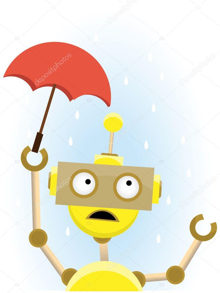 3f8e460e7e Gelbe Roboter hält kleine Dach zum Schutz gegen Regen– Stockillustration