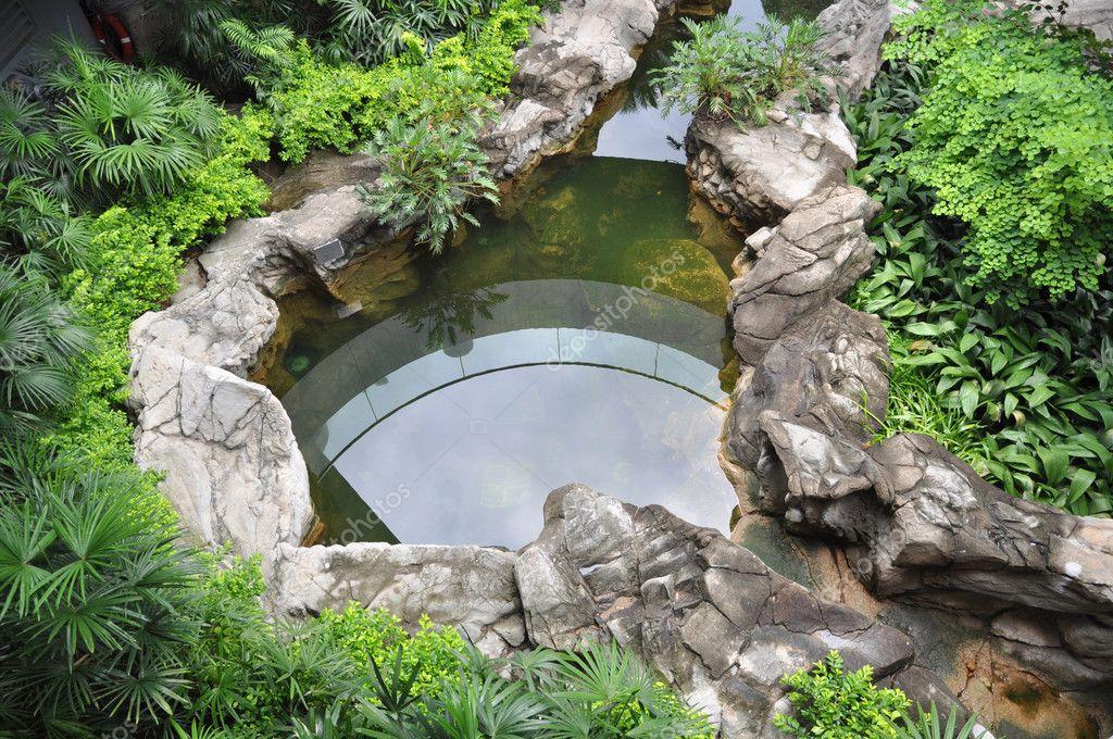 Azotea jard n con estanque de peces foto de stock for Estanques de jardin con cascadas para peces
