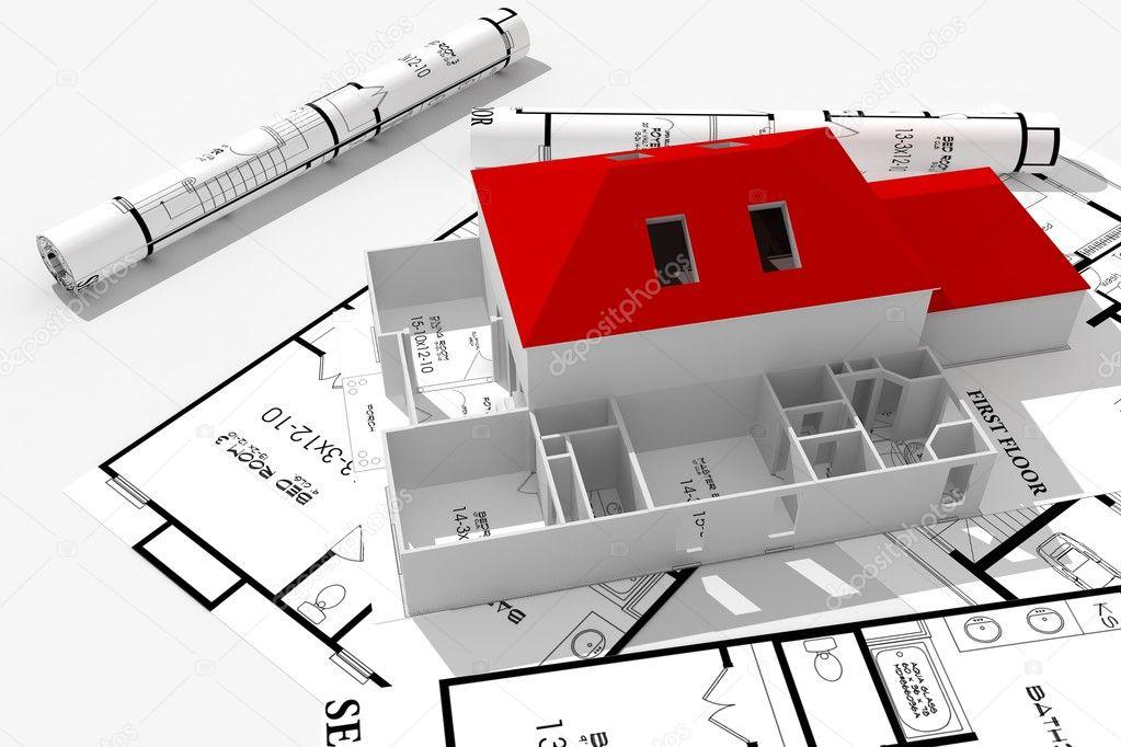 Concepto de planos de casas 3d fotos de stock - Planos en 3d de casas ...