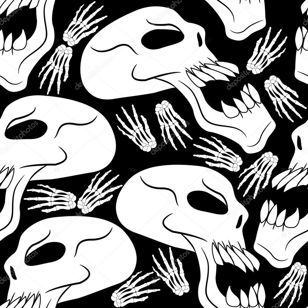 seamless halloween skulls and skeleton hands background stock vector 6733376 - Halloween Skulls