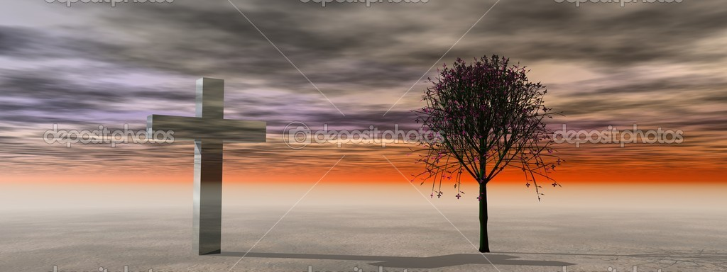 Landscape and cross and tree