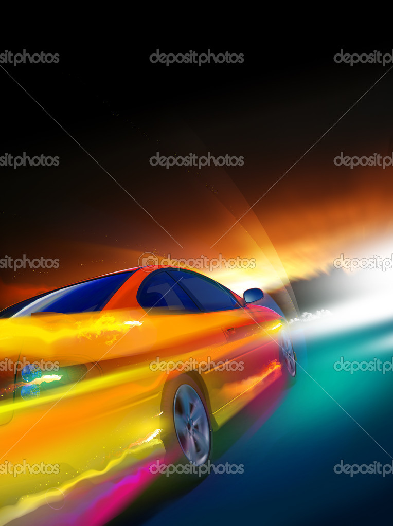 High-speed burning car