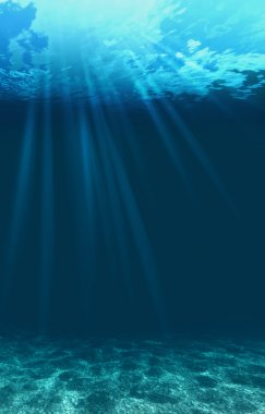 Blue ocean waves from underwater