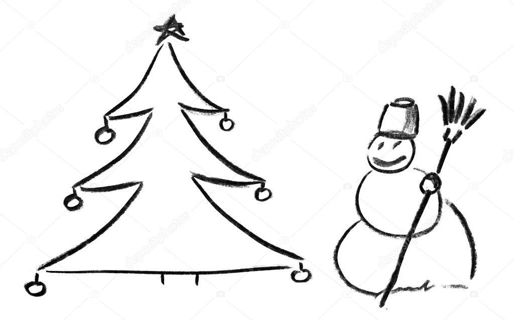 Noel Ağacı Ve Kardan Adam Kalem Kroki Stok Foto Nomadsoul1 5383277