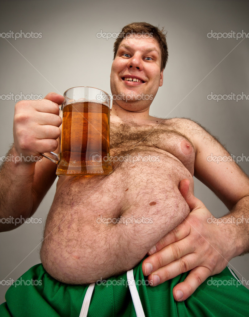 Funny fat man with glass of beer