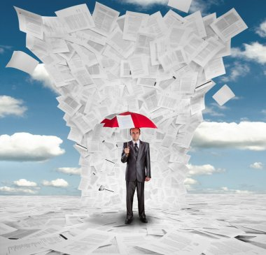 Serious businessman with red umbrella under huge wave of documents stock vector