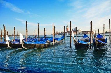Gondolas and San Giorgio maggiore in Venice