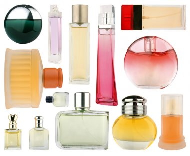 Set of perfume bottles isolated on white