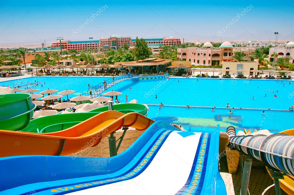 Colorful aquapark sliders