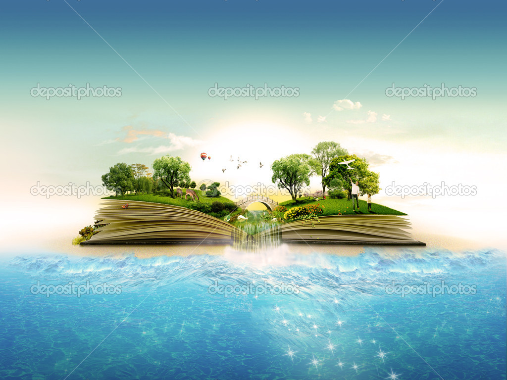 Magical book about the nature stock vector