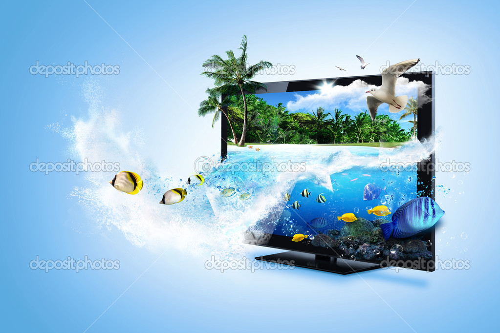 Stock Photo: 3D TV - feel the nature