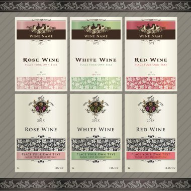 Set of wine label templates