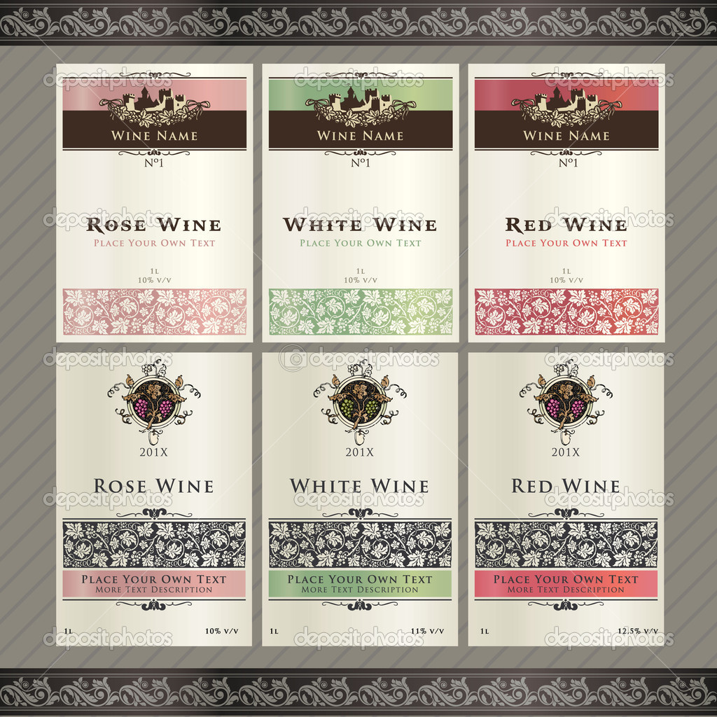 set of wine label templates stock vector tanjakrstevska 6686489. Black Bedroom Furniture Sets. Home Design Ideas