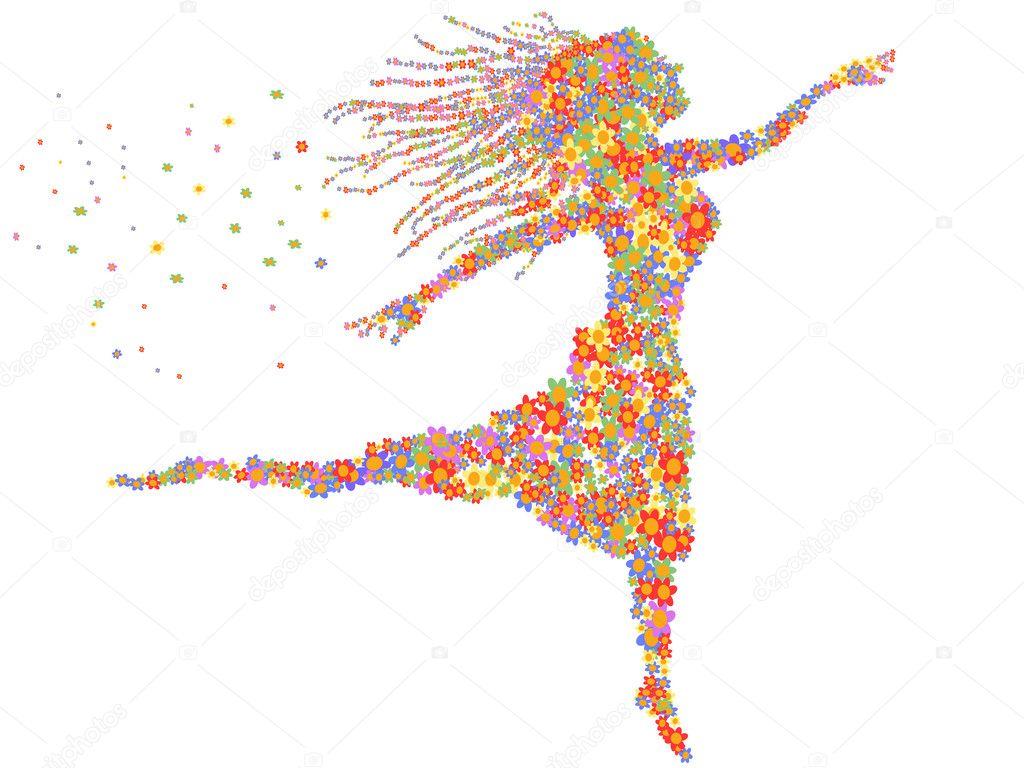 Beautiful dancing floral girl