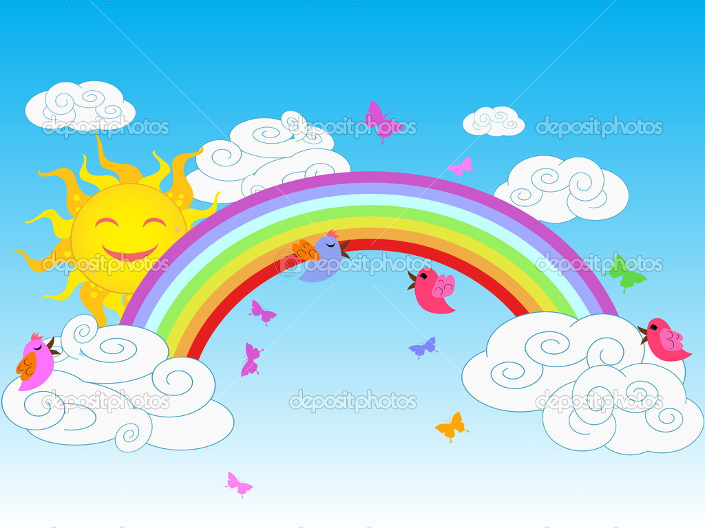 Colorful rainbow in sunny day