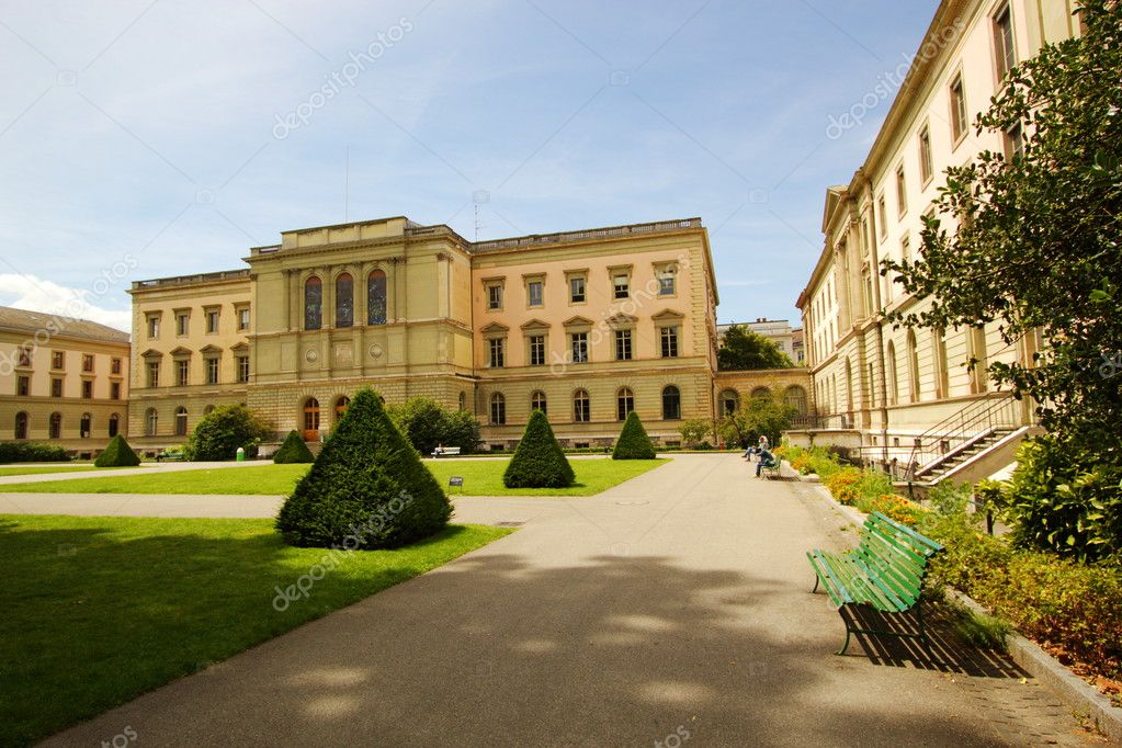 University of Geneva building in the Bastions park, Switzerland.