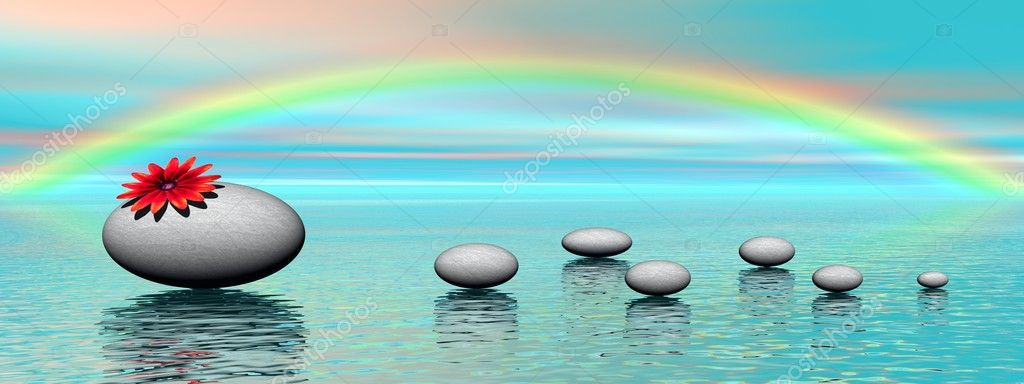 Zen stones and rainbow