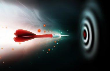 Shot of darts in bullseye on dartboard on a dark background stock vector