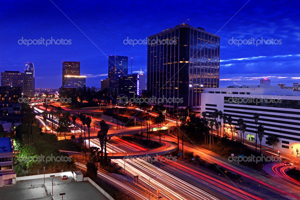 Timelapse Image of Los Angeles freeways at sunset