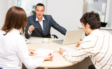 Financial adviser and his customers