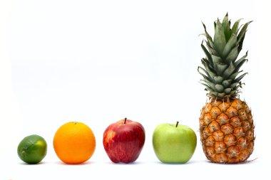 Row of fresh ripe fruits