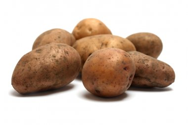 Pile of organic raw potatoes