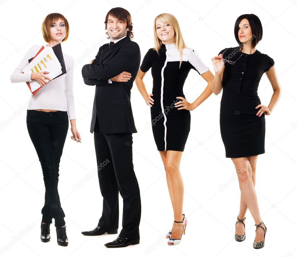 Young business over white background