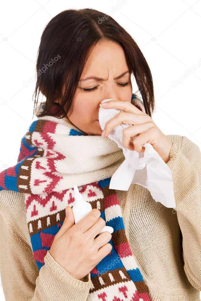 Cute young woman havign caught cold