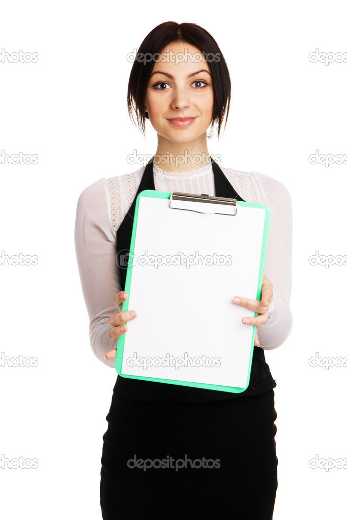Beautiful young woman holding a blank sheet, white background