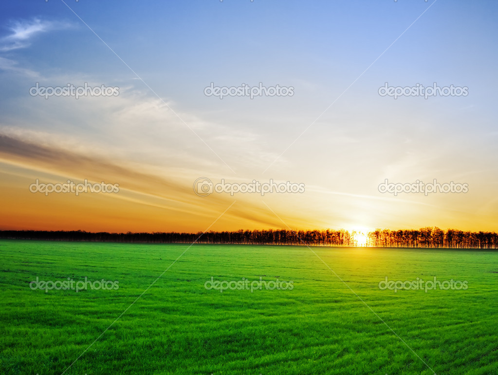 Фотообои Sun setting over a beautiful landscape